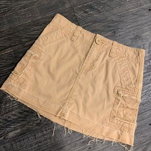 Old Navy Khaki Unravel Hem Skirt NWOT